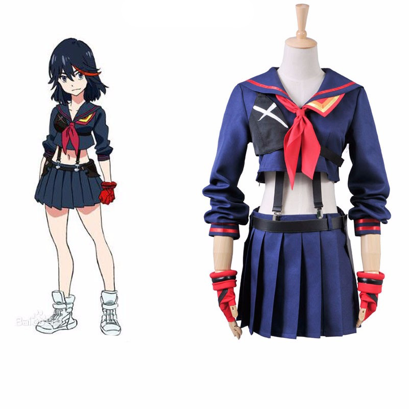 Japanese Anime KILL la KILL Ryuko Matoi Party Halloween Cosplay costumes For Women Girls Christmas Gift Dress Glove Custom Made
