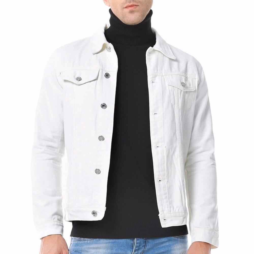 Moda Uomo Nero Blu Bianco Giacca di Jeans Casual di Autunno Dei ... 16a521badae