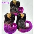 3 UNIDS Lote Ombre Pelo Indio de la Virgen Paquetes de Pelo Corto de Alta Calidad extensión T Colores 1B 27 30 Azul Púrpura Gris Rosa Humano pelo