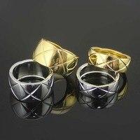 Heißer Verkauf Schneiden Grain Silber Farbe/Gold Farbe Titan Stahl Ringe Für Frauen Hübsches Schmuck