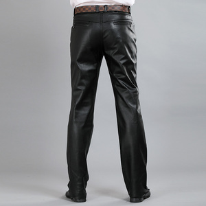 Image 2 - New Fashion Male Genuine Leather Pant 2020 Autumn High Street Straight Loose Classic Trouser Biker Soft Pantalon Man Plus Size