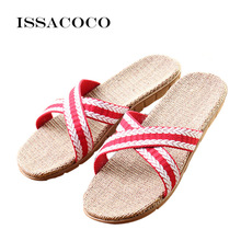 ISSACOCO Womens New Arrival Summer Flat Cross Vamp Canvas Linen Slippers Women Beach Flip Flops Indoor Flax Home Shoes