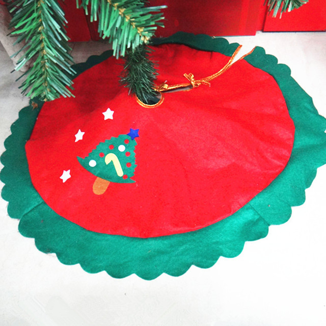 rqaa210 wave green edge decal tree skirt 60cm small christmas tree decoration small cute apron - Small Christmas Tree Skirt