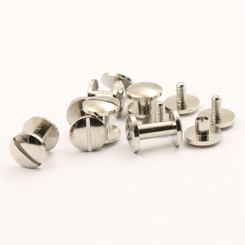 100PCS Nickelbindung Chicago Schrauben Nagelnieten Fotoalbum Leder Craft M5x6mm KSTE Butt Niet
