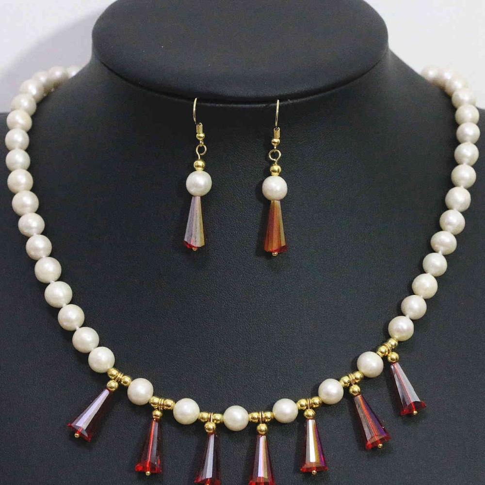 Natural White Freshwater Cultured 7 8mm Pearl Necklace Earrings Set Gold Color Teardrop Crystal Beads Jewelry 1427 In Sets From