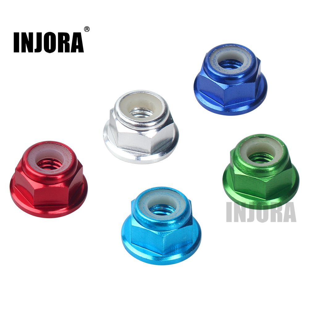INJORA M4 Metal 4mm Wheel Lock Nut For 1/10 RC Car Crawler Traxxas TRX4 Axial SCX10 90046 D90 Slash 2wd SCTE 4x4