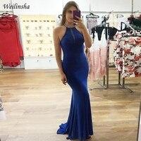 Weilinsha Русалка Вечерние платья в пол Королевский синий платье для выпускного вечера с бисером блестки