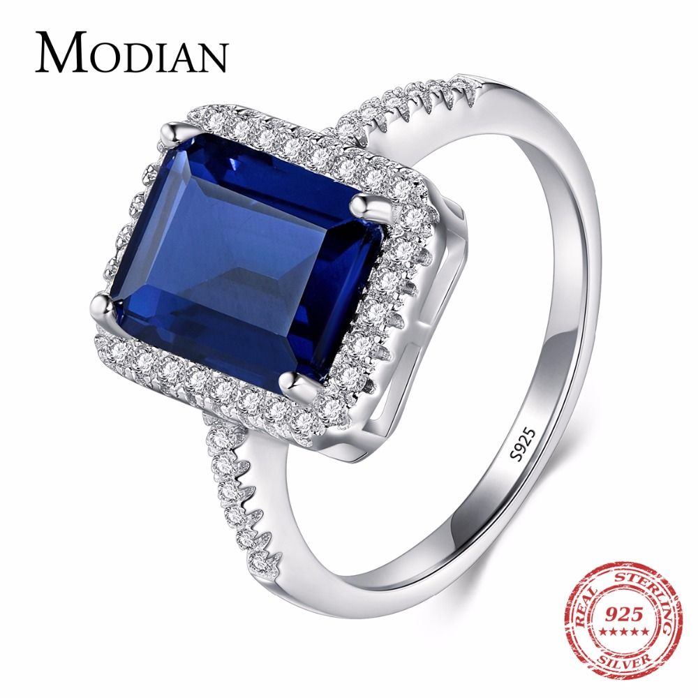 Modian Design Fashion Real 925 Sterling Silver Blue Special Cut Ring Wedding Finger Zirconia Jewelry Anillos de compromiso para mujeres