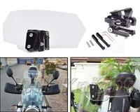Motorcycle Risen Transparent Windshield Bracket Set Screen Protector Adjustable Lockable For Honda BMW Kawasaki Harley