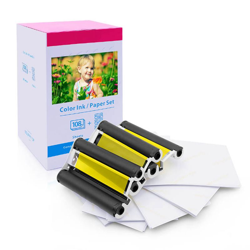 Photo Paper KP-108IN 3 Ink Cassette and 108 Paper Sheets 100x148mm 6'' Compatible Canon Selphy Printers CP780 CP740 CP1000