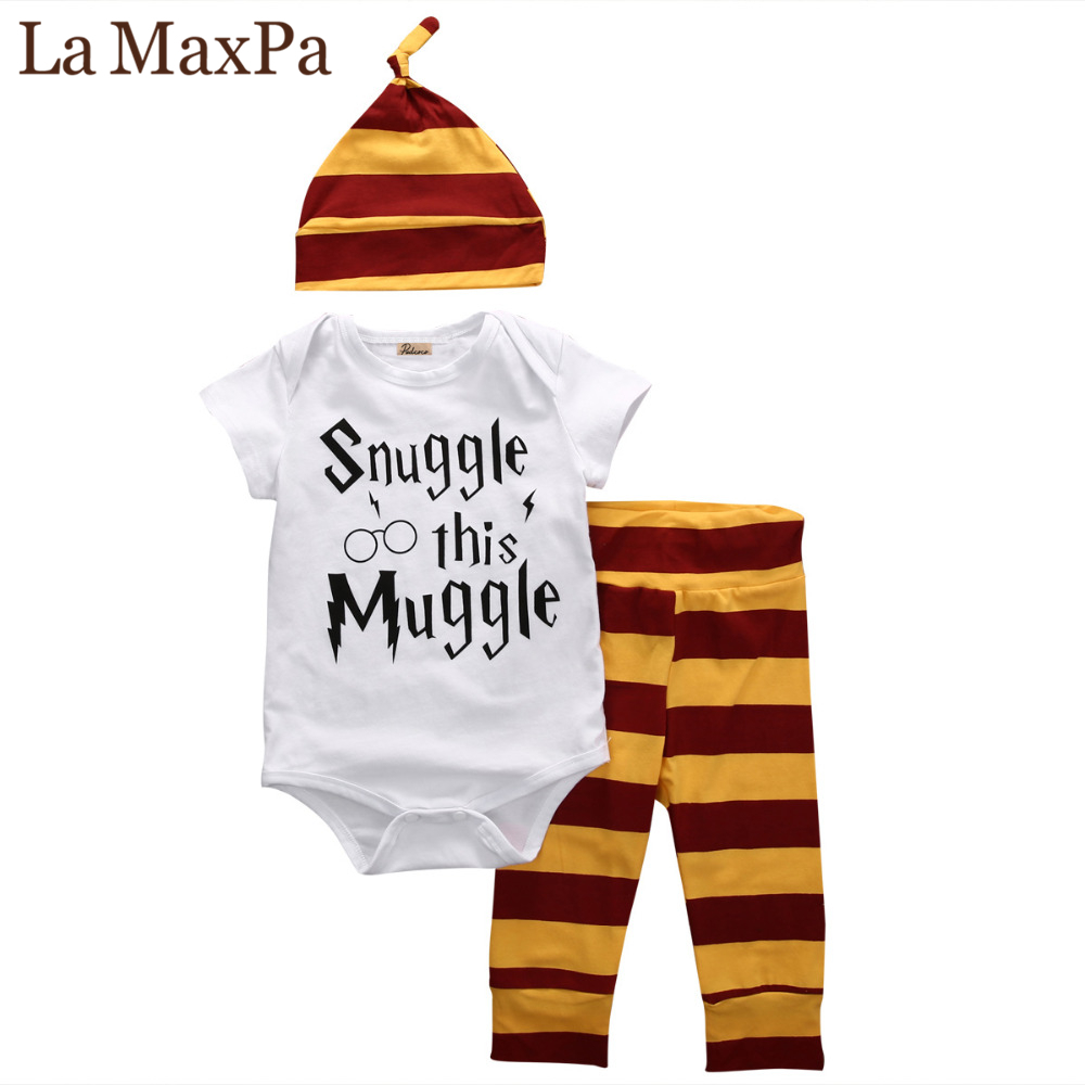 2018 baby boy clothing set Short sleeve printing romper +pants+hat fashion baby Muggle girls clothes newborn suit