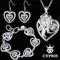 WHOLESALE Best sale Hot double heart silver Jewelry sets Necklaces Earrings bracelet 18inch Women Freeshipping women Fine
