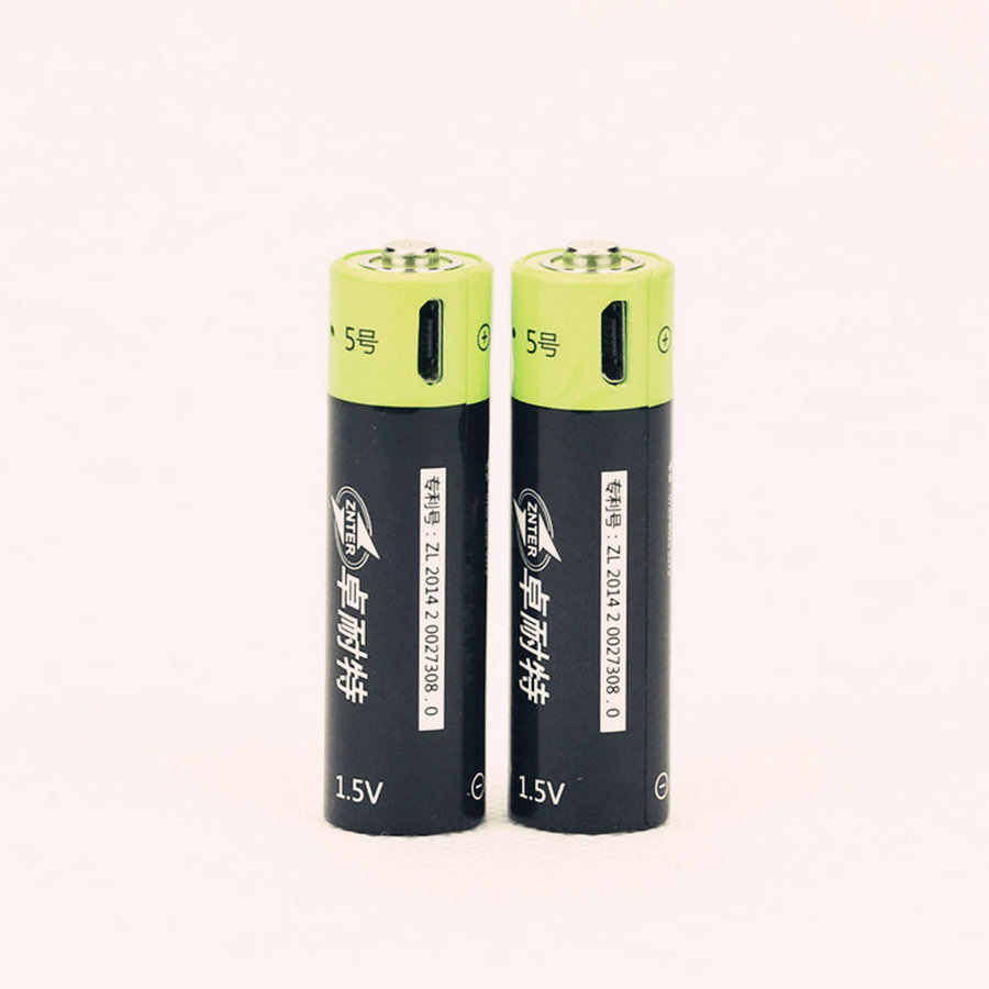 Cncool NEW Battery 2pcs ZNTER 1.5V AA 1250MAH Li-polymer Lithium Li-ion Rechargeable Battery With USB Charging Line