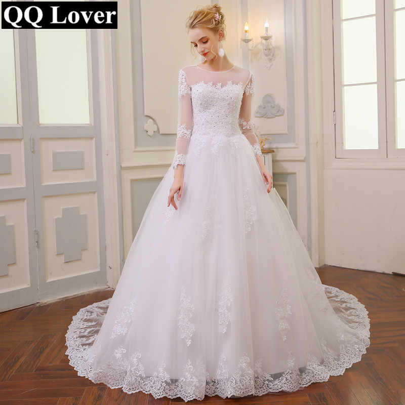 QQ Lover New Arabic Dubai Wedding Dress Long Sleeves Lace Big Train Vestido De Noiva Wedding Gown