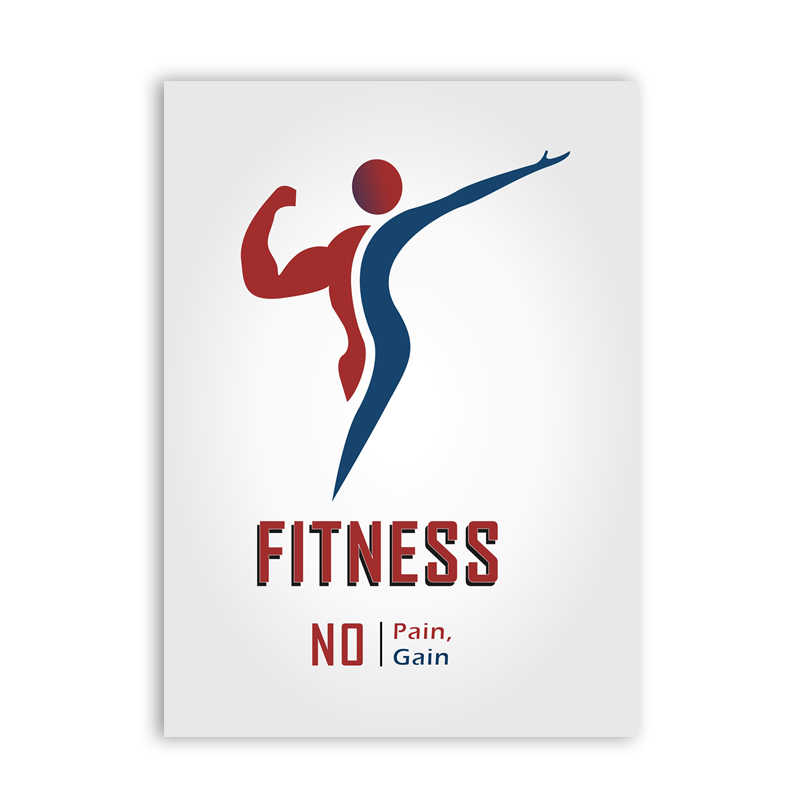 Fitness No Pain No Gain Canvas Poster Art Print Wall Pictures ,  Fitness Inspiration Quote Canvas Painting Gym Decoration