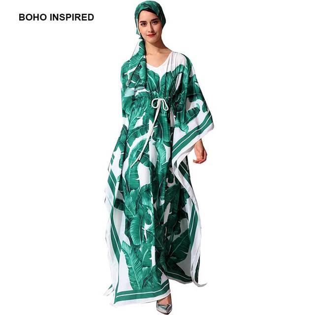 Boho Inspired Tropical Palm Print Maxi Kaftans Batwing Sleeve Drawstring Waist Summer Dress Beach Caftans Chic