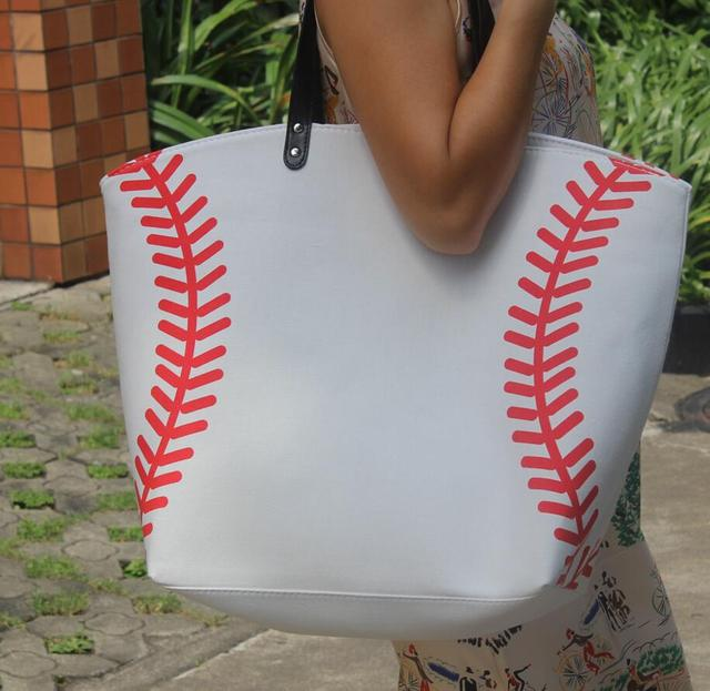 wholesale new yellow softball white baseball Jewelry Packaging Blanks Kids Cotton Canvas Sports Bags Baseball Softball Tote Bag 1