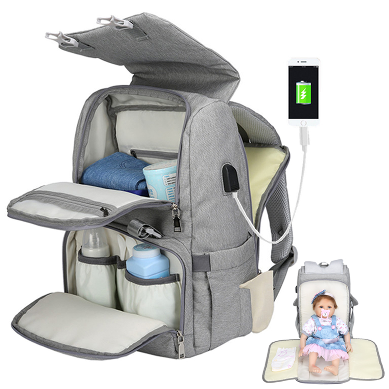 Mummy maternity baby diaper bags backpack usb waterproof nurse changing nappy bag for mother mom baby