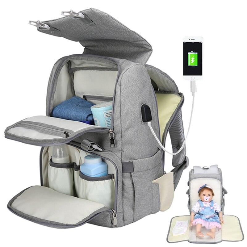 Di maternità mummia del pannolino del bambino borse zaino usb impermeabile infermiera cambiare sacchetto del pannolino del sacchetto per la madre la mamma del bambino passeggino organizer stampato