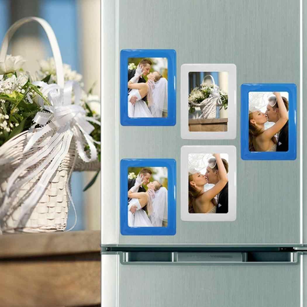 DIY Photo Wall การปรับแต่งแม่เหล็กตู้เย็น Photo กรอบรูปสีขาว,สีแดง,สีฟ้า,สีดำสี่เหลี่ยมผืนผ้า 32g