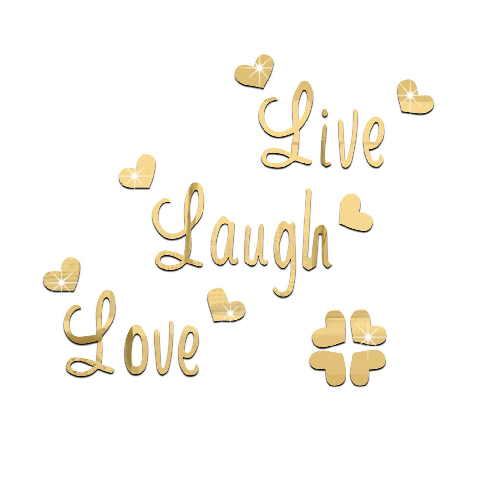 Live Gold Quotes Brilliant Live Love Laugh Quote Wall Sticker Quotes Acrylic Reflective