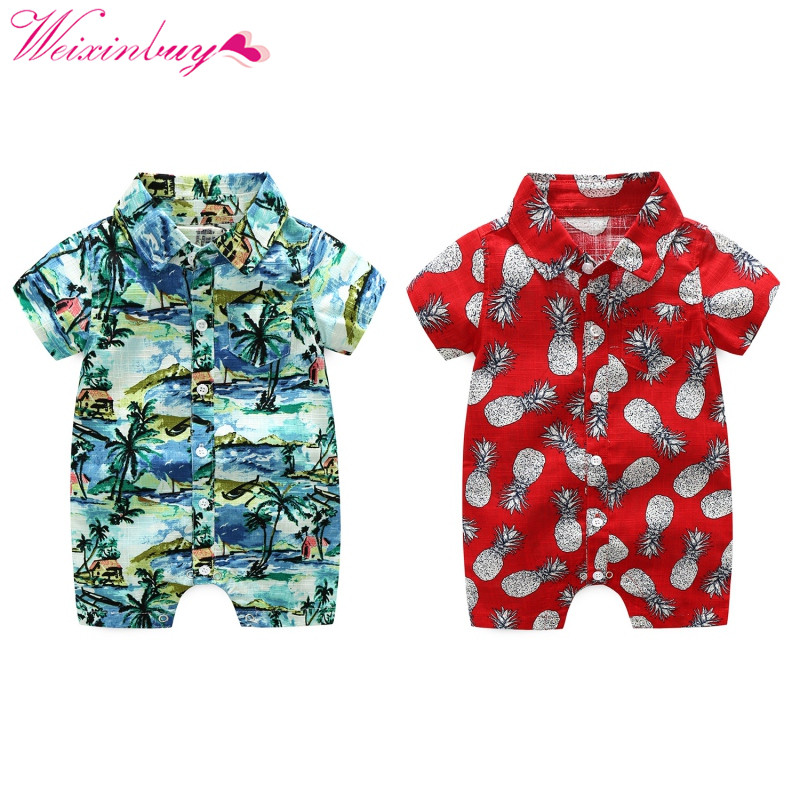 Kids Clothes Baby   Rompers   Print Hawaii Seaside Vacation Baby   Rompers   Fashion Baby Boy Clothes Baby Clothes