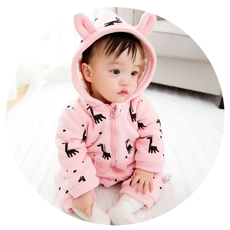 0-24M Baby rompers fawn cotton newborn baby clothing print fleece thicken Infant jumpsuit long sleeve warm hooded baby clothing
