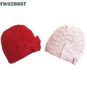 Модная шапка для новорожденных с бантом, вязаная крючком, осенне-зимняя теплая шапка для маленьких девочек, новые детские шапки, детские шап...