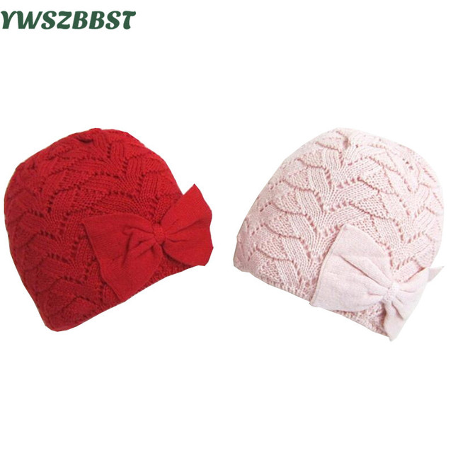 169aa444 Fashion Newborn Baby Hat with Bow Crochet Autumn Winter Warm Infant Hat for  Girls Cap New