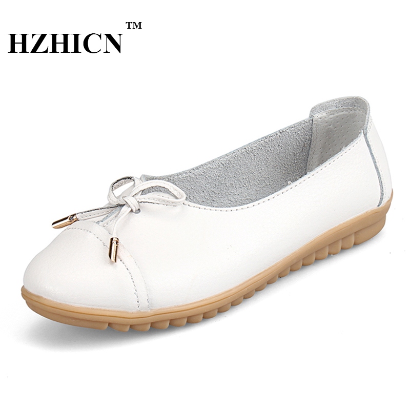 Fashion Brand Genuine Leather Shoes for Women Casual Mother Loafers Soft and Comfortable Oxfords Lace Up Non-slip Flat Moccasins 2017 new women shoes genuine leather casual shoes flats breathable lace up soft fashion brand shoes comfortable round toe white