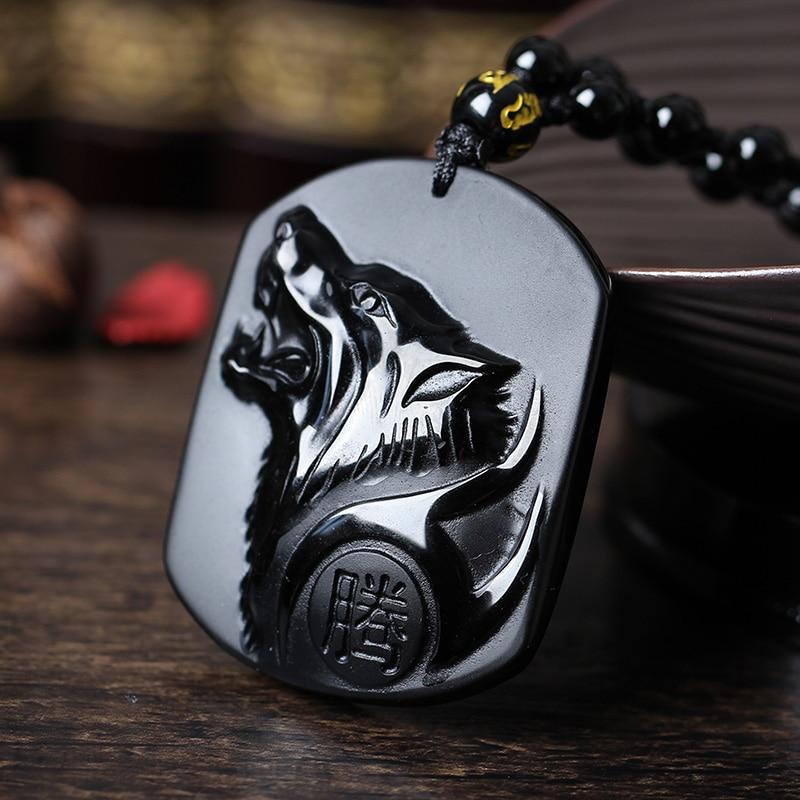 Envío de la gota Negro Obsidiana talla Wolf Head Amuleto colgante - Joyas