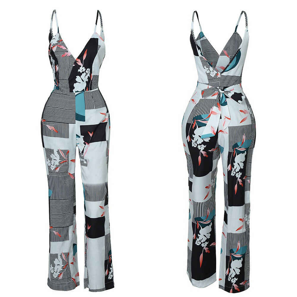 ผู้หญิงฤดูร้อนสบายๆสายคล้องคอ Jumpsuit หลวมพิมพ์กางเกงขากว้างชุด Playsuit