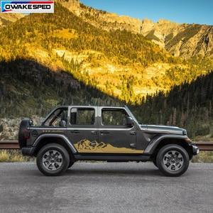 Image 2 - Mountain Off Road Graphic Auto Body Decor Sticker Car Door Side Skirt Vinyl Decal For Jeep Wrangler Rubicon Sahara 4 doors