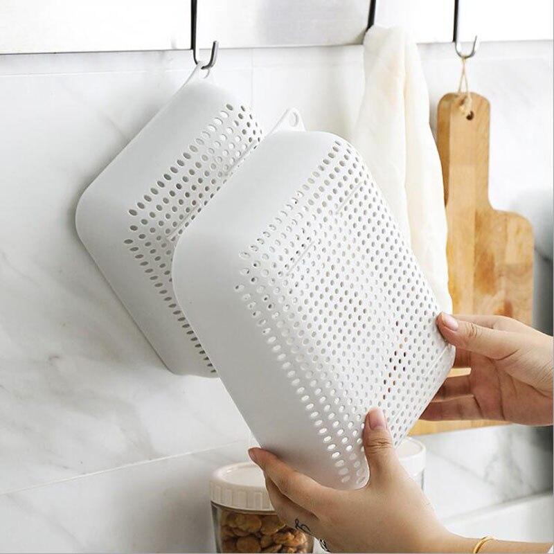 Plastic drain basket kitchen washing basket three piece household creative fruit basket washing baske in Storage Baskets from Home Garden