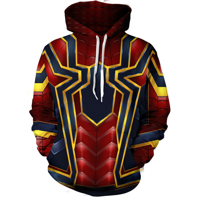 Avengers 3 Infinity War Spiderman 3D jacket costume Unisex hoodie sweatshirts man zipper hoodies top sweatshirt jacket Coat