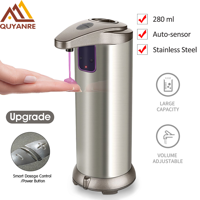Quyanre 280ml Automatic Soap Dispenser Shower Stainless Steel Sensor Soap Shampoo Dispenser Bathroom Sensor Infrared Sanitizer free shipping brass black liquid soap dispenser bathroom kitchen stainless steel touch soap dispenser wall mounted 1000ml