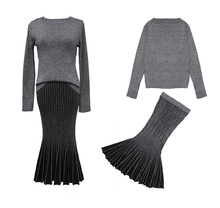 2 piece set women Suit female Sweater Set New Autumn Lady Suits Tops+Skirt  Fashion Knitting Long sleeves Skirt Suits