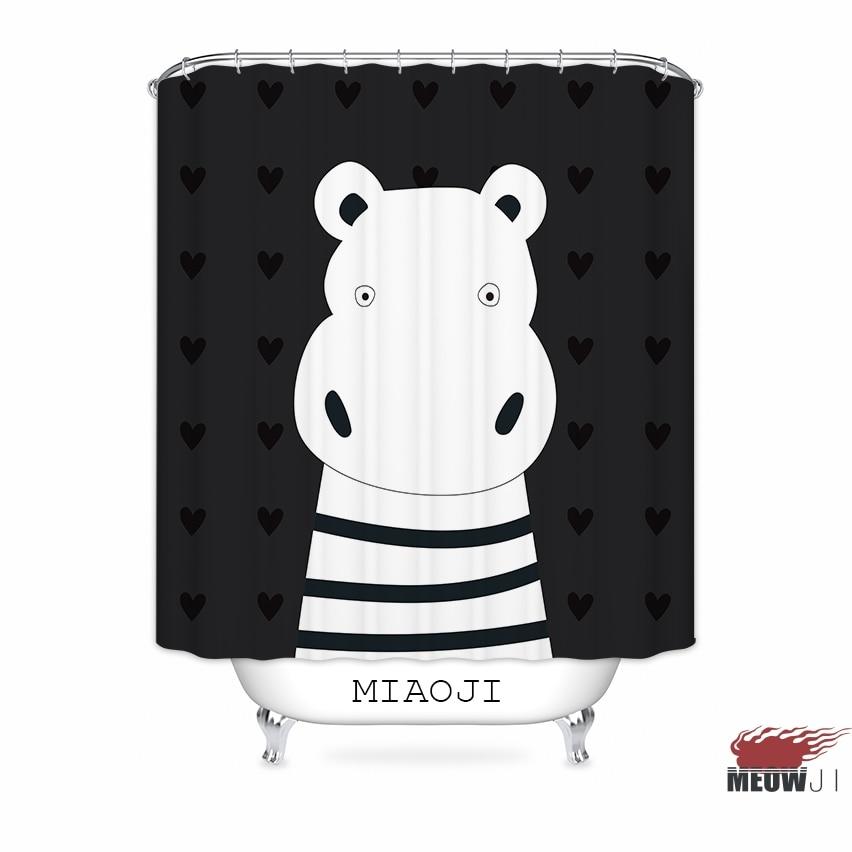 [MIAOJI] Cartoon Animals Bear Hippo Black Cool Fabric Shower Curtain Bathroom decor various sizes Free Shipping