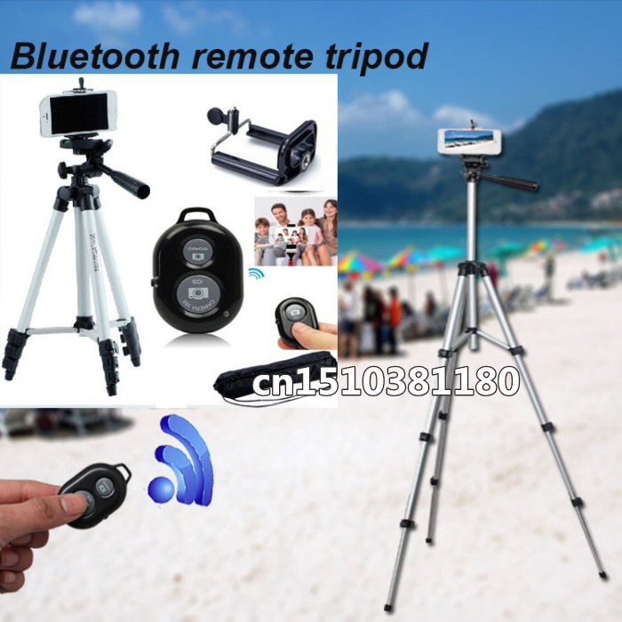 Humor Flexible 4 Sections 105cm Camera Bluetooth Remote Tripod Monopod + Mobile Phone Holder With Bag For Camera Dv Video Recorders