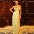 Sexy Empire Backless Myriam Fares Celebrity vestidos partido del vestido granos cristalinos De la gasa vestido Formal largo Vetsido De Festa Longo