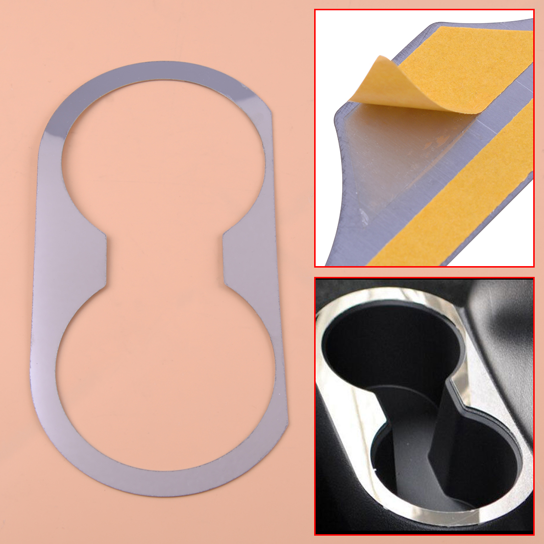 beler Car Rear Seat Water Cup Holder Plate Cover Trim Sticker Fit For <font><b>Jeep</b></font> Patriot <font><b>Compass</b></font> 2011 2012 2013 <font><b>2014</b></font> 2015 2016 image