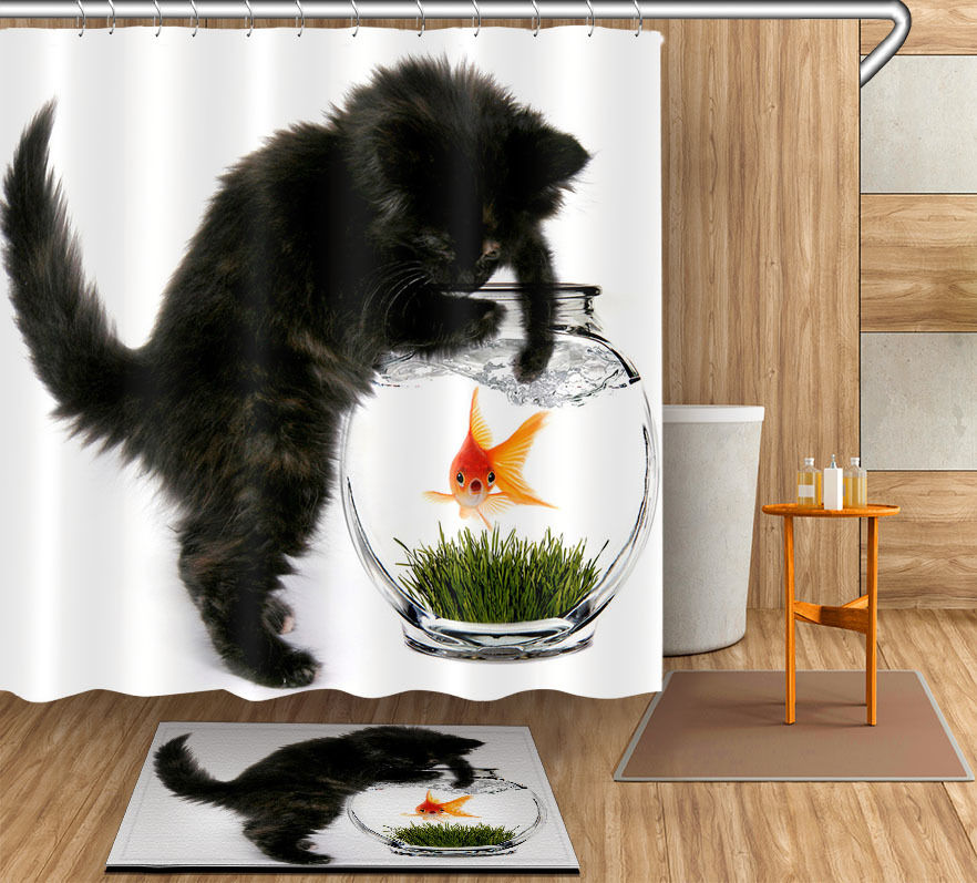 72/79Bath Fabric Shower Curtain & Mat Rug &12Hook-Black Cat Catch Goldfish 4043