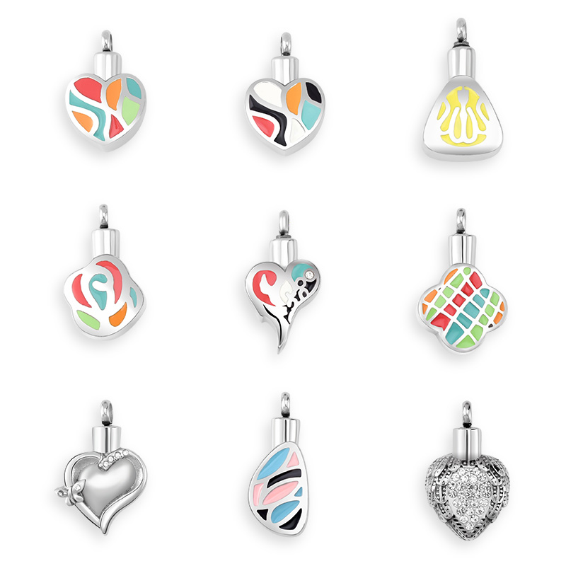 SOITIS Ashes Urn Pendants Necklace Men/Women Keepsake Colorful Necklace Jewelry Dog Cremation Sliver Pendant Beaded Chain Gift