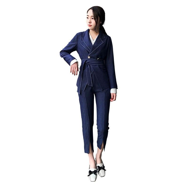 Ol Femmes Bureau Styles Deux D'affaires Travail Royal Casual Formelle Ensembles Bleu Uniforme Vêtements Costumes Élégant pièce Pantalon Pantalons De 4pwxrf4