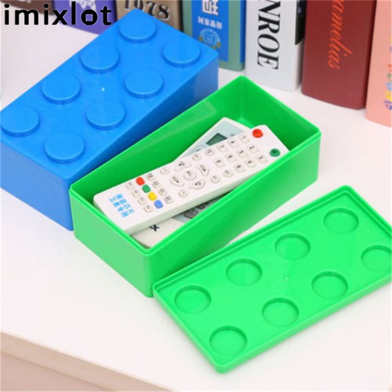 Imixlot 1Pc Plastic Building Block Shape Saving Space Storage Box Superimposed Desktop Case Office House Organizer Container