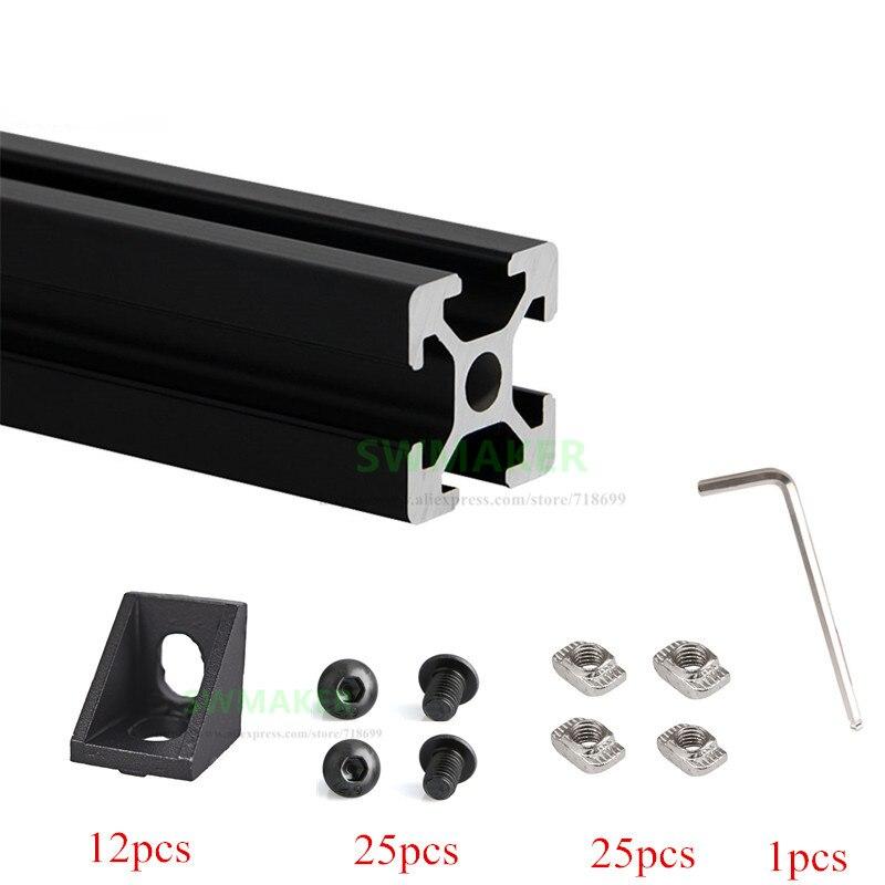 1 Set Black/silver Aluminium Metal Extrusion Profiles CREALITY CR-10 3D Printer clone Frame Kit with Nuts Screw цена