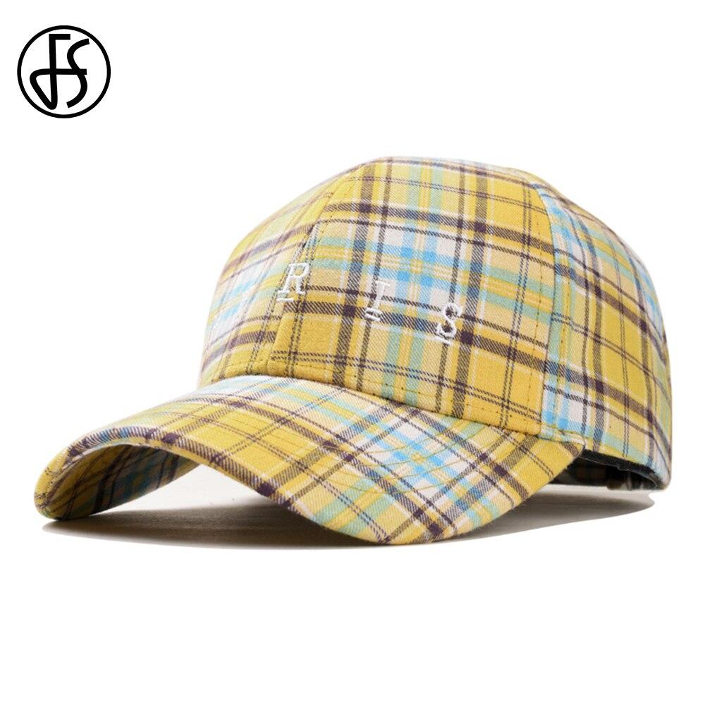 64b97f4a FS British Plaid Branded Cotton Mens Baseball Caps Women Ponytail Hats  Slipknot Dad Hats Outdoor Yellow
