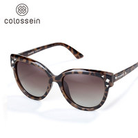 COLOSSEIN Fashion Polarized Sunglasses Tan Leopard TR Frame UV400 Protection Sunglasses For Outdoor Travelling Driving Shopping