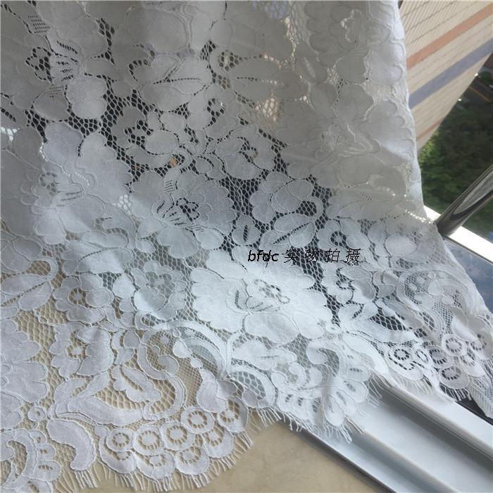 1 stuk/partij hoge katoen chantilly cord wimper kant stof catwalk jurk stof trouwjurk accessoires melkwitte - 4