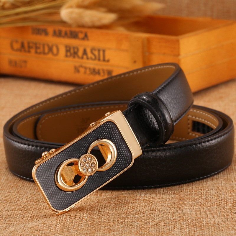 2018 red women belt 2.4cm wide Women's white belt ceinture femme strass young student jeans with black bowknot automatic buckle